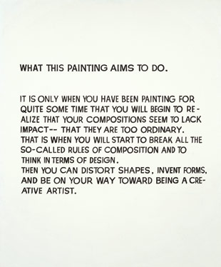 John Baldessari, What This Painting Aims to Do, 1966-68