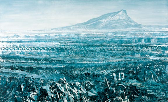 Mark Tansey, Valley of Doubt, 1990. Oil on canvas, 87 1/2 x 144 inches