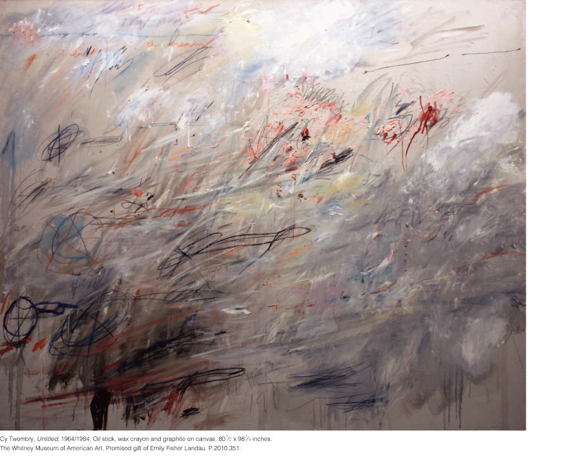 Cy Twombly, Untitled, 1964/1984. Oil stick, wax crayon and graphite on canvas, 80 1⁄2 x 98 1⁄4 inches. The Whitney Museum of American Art. Promised gift of Emily Fisher Landau. P.2010.351.