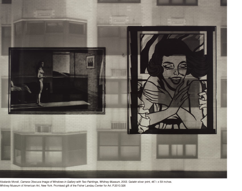Abelardo Morell, Camera Obscura Image of Windows in Gallery with Two Paintings, Whitney Museum, 2003. Gelatin silver print, 46-3⁄8 x 59 inches Whitney Museum of American Art, New York. Promised gift of the Fisher Landau Center for Art. P.2010.326
