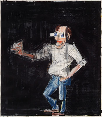 Michael Hurson, Artist at Work #3, 1981. Graphite, pastel and conté crayon on paper, 30 x 28 inches