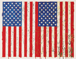 Jasper Johns, Flags I, 1973.  Color screenprint, 27-1/2 x 35 inches